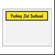 "4 1/2"" x 6"" Yellow Script ""Packing List Enclosed"" Envelopes 1000/Case"