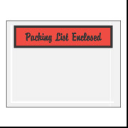 "4 1/2"" x 6"" Red Script ""Packing List Enclosed"" Envelopes 1000/Case"