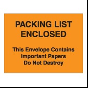 "4 1/2"" x 6"" Orange ""Important Papers"" Packing List Envelopes 1000/Case"