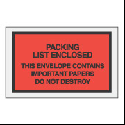 "4 1/2"" x 6"" Red ""Important Papers"" Packing List Envelopes 1000/Case"