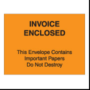 "4 1/2"" x 6"" Orange ""Invoice Enclosed Important Papers"" Packing List Envelopes 1000/Case"