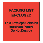 "5"" x 6"" (Paper Face) Red ""Packing List Enclosed"" Envelopes 1000/Case"