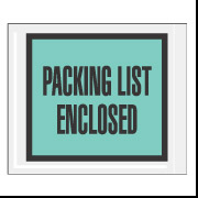 "4.5"" x 5.5"" Green Full Face ""Packing List Enclosed"" Envelopes 1000/Case"