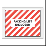 "4.5"" x 6"" Red Stripe Full Face ""Packing List Enclosed"" Envelopes 1000/Case"