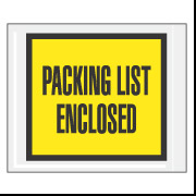 "7"" x 5.5"" Yellow Full Face ""Packing List Enclosed"" Envelopes 1000/Case"