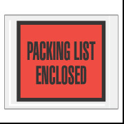 "7"" x 5.5"" Red Full Face ""Packing List Enclosed"" Envelopes 1000/Case"