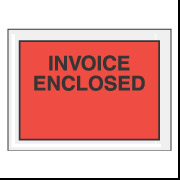 "4.5"" x 6"" Red Full Face ""Invoice Enclosed"" Envelopes 1000/Case"
