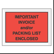 "4 1/2"" x 6"" Red ""Important Packing List And/or Invoice Enclosed"" Envelope 1000/Case"