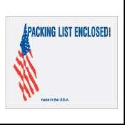 "7"" x 5 1/2"" USA Flag ""Packing List Enclosed"" Envelope 1000/Case"