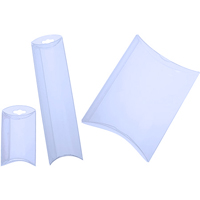 "3"" x 1"" x 5"" Frosted Plastic Folding Pillow Boxes w/Hanger"