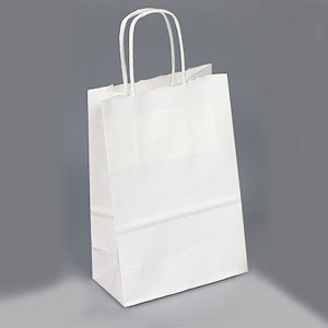 5 1/2 x 3 1/4 x 8 3/8 White Shopping Bag