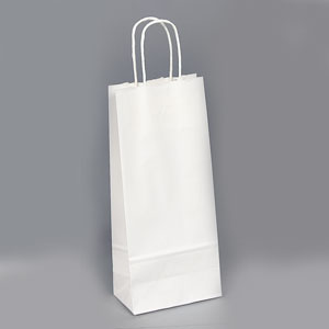 5 1/2 x 3 1/4 x 13 White Shopping Bag