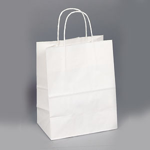 8 x 4.75 x 10.25 White Shopping Bag