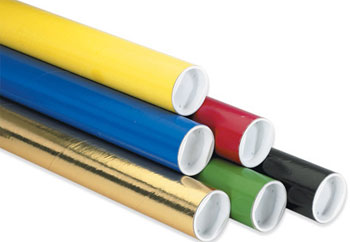 "2"" x 9"" Colored Mailing Tubes w/ Caps 50/Carton"