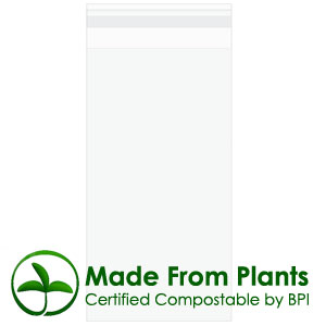 "4"" x 7 1/2"" + flap, Premium Eco Clear Bags 1.6 Mil (100 pack)"