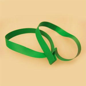 "16"" Green Vinyl Stretch Loop - 1/4"" Wide (50 pack)"