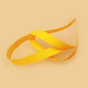 "16"" Yellow Vinyl Stretch Loop - 1/4"" Wide (50 pack)"