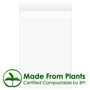 "9 7/16"" x 12 1/4"" + flap, Premium Eco Clear Bags 1.6 Mil"
