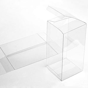 "4"" x 4"" x 8"" Soft Fold Clear Boxes (25 Pieces)"