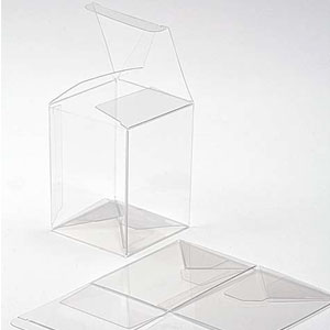 "6 1/4"" x 5 1/2"" x 7 5/8"" Crystal Clear Cube Boxes (25 Pieces)"