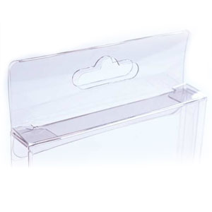 "4 1/2"" x 5/8"" x 5 7/8"" Clear Hanging Soft-Fold Boxes"