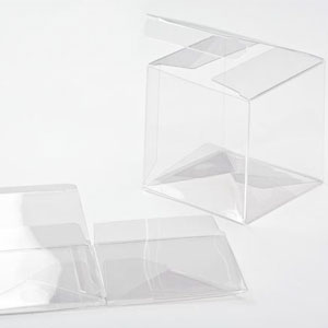 "3 1/2"" x 3 1/2"" x 3 1/2"" Crystal Clear Cube Boxes (25 Pieces)"