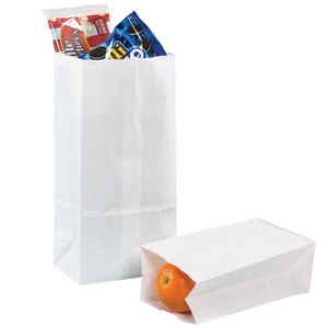 BGG103W - 5 x 3 1/4 x 9 3/4 #4 White Grocery Bag 500/Bundle