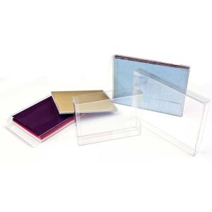 "3 13/16"" x 5/8"" x 6 13/16"" Soft Fold Clear Boxes (25 Pieces)"
