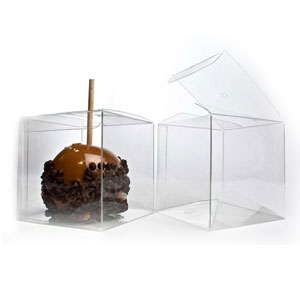 "4"" x 4"" x 4"" Candy Apple Box (hole top) (25 Pack)"