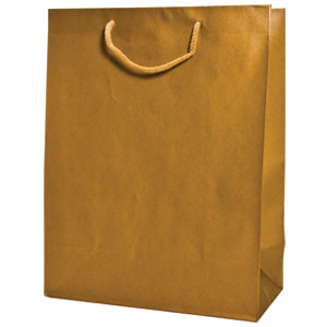 "5 1/2 x 3 1/2 x 6"" Gold Aubrey Shopping Bags 50/Case"