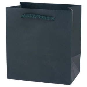 "6 1/4 x 3 1/2 x 8 1/2"" Hunter Green Gloss Laminated Shopping Bags 100/Case"