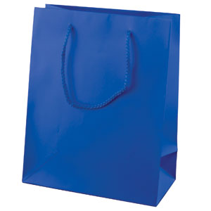 "9 x 3 1/4 x 7"" Royal Blue Gloss Laminated Shopping Bags 100/Case"