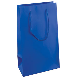 "16 x 6 x 12"" Royal Blue Matte Laminated Shopping Bags 100/Case"