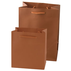 "6 1/4 x 3 1/2 x 8 1/2"" Metallic Gloss Copper Laminated Shopping Bags 50/Case"