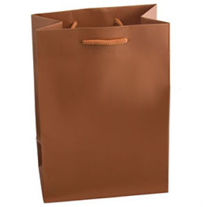 "6 1/4 x 3 1/2 x 8 1/2"" Metallic Matte Copper Laminated Shopping Bags 100/Case"