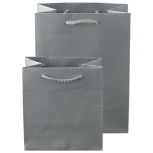 "6 1/4 x 3 1/2 x 8 1/2"" Metallic Gloss Silver Laminated Shopping Bags 100/Case"