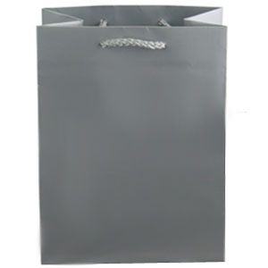 "9 x 3 1/4 x 7"" Metallic Matte Silver Laminated Shopping Bags 100/Case"