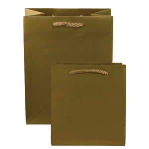 "6 1/4 x 3 1/2 x 8 1/2"" Metallic Gloss Gold Laminated Shopping Bags 50/Case"