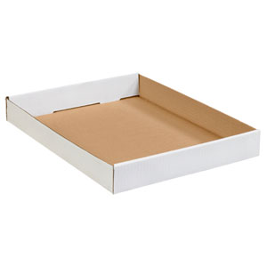 "15"" x 12"" x 1 3/4"" White Corrugated Trays 50/Bundle"