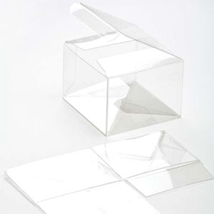 "4 1/8"" x 1"" x 4 1/16"" Soft Fold Clear Boxes (25 Pieces)"