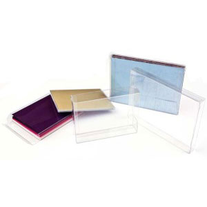 "5 13/16"" x 1/2"" x 8 13/16"" A9 Soft Fold Clear Boxes (25 Pieces)"