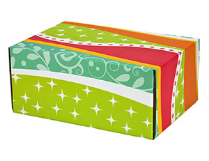 "Funky Pattern Decorative Self Seal Shipping Boxes 9 1/2"" x 6 1/4""x 3 3/4"" 24/Carton"