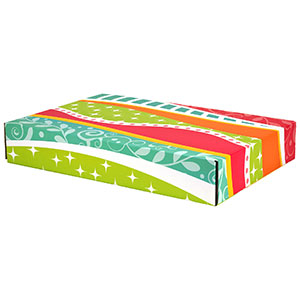 "Funky Pattern Decorative Self Seal Shipping Boxes 17 5/8"" x 12 1/4"" x 3"" 24/Ctn"