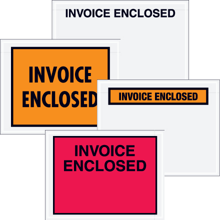 """Full Face """"Invoice Enclosed"""" Packing Envelopes"""