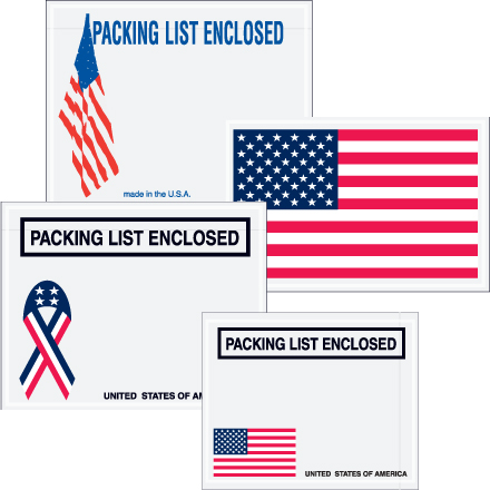 "U.S.A. ""Packaging List Enclosed"" Packing Envelopes"