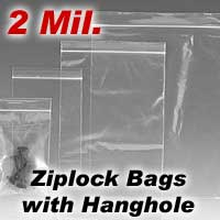 "3"" x 4"" 2 Mil. Zip Top Poly Bags with Hang hole 1000/Case"