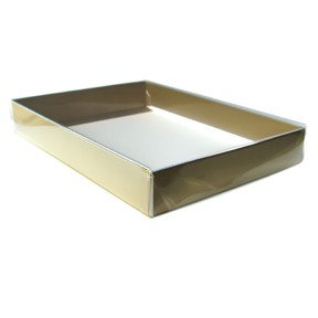 """Clear Lid Gift Boxes with Matte Gold Base (10 x 7 x 2"""") 48/Ctn"""