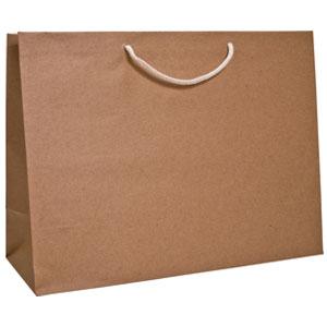 "20 x 7 x 16"" Kraft Aubrey Shopping Bags 100/Case"