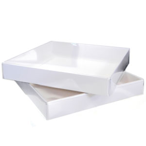 """6 1/4 x 6 1/4 x 1"""" - Square Clear Lid Boxes with White Base 100/Ctn"""