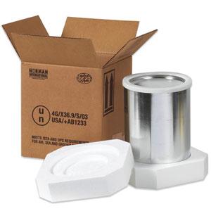 """8 1/2 x 8 1/2 x 9 5/16"""" 1 - 1 Gallon Foam Haz Mat Shipper Kit"""